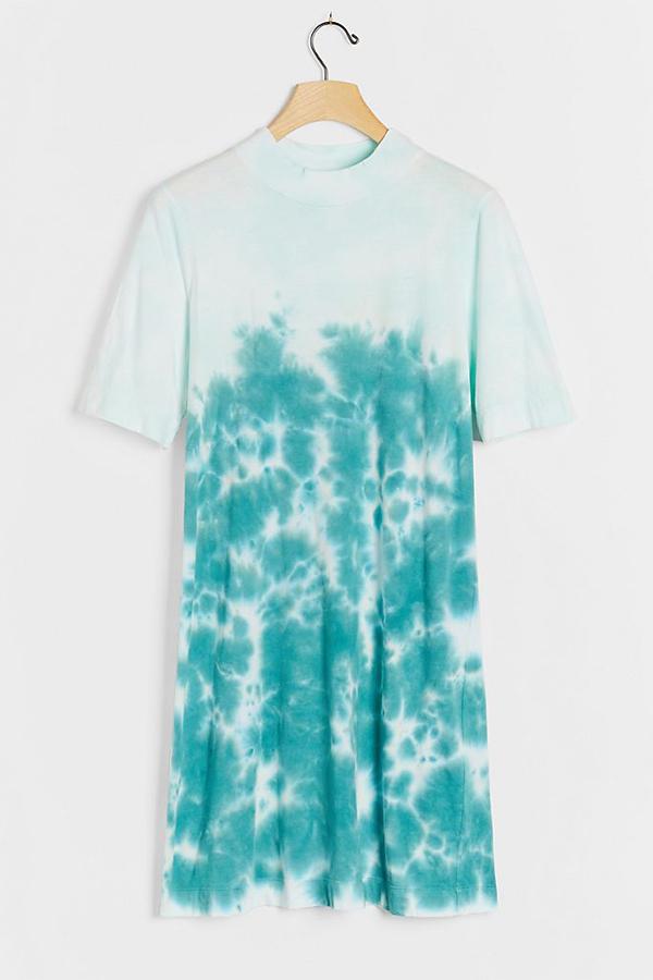 A plus-size aqua tie-dye T-shirt dress.
