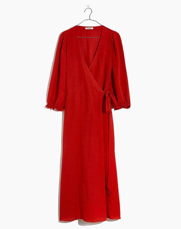 A plus-size red wrap dress.