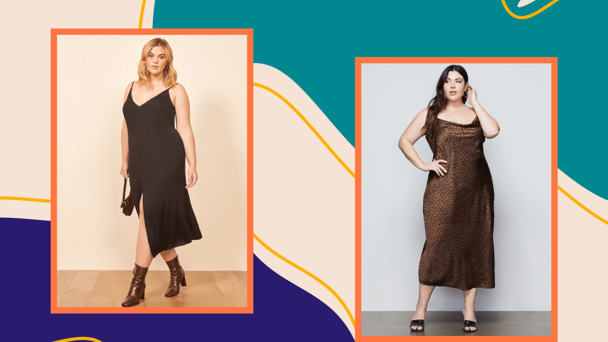 Two plus-size models wearing plus-size slip dresses on a graphic background.