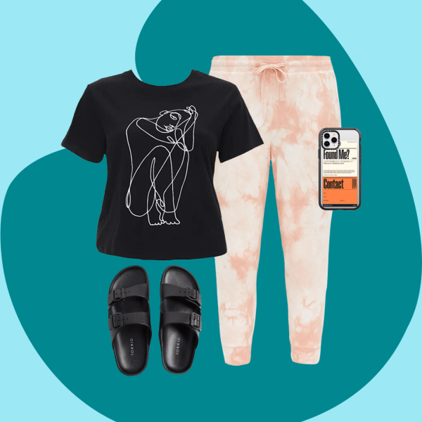 A plus-size outfit collage, featuring a pair of tie-dye sweatpants, a T-shirt, a pair of slip-on sandals, and a phone case.