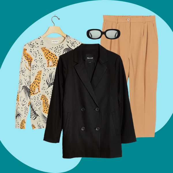A collage with a black blazer, animal print sweater, brown trousers, and black sunglasses.