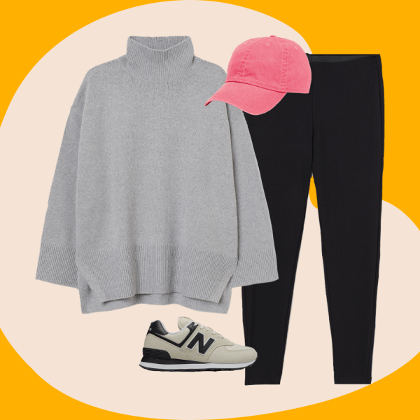 A collage with a gray sweater, New Balance sneakers, black leggings, and pink baseball hat.
