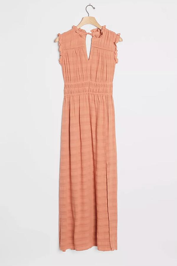 A plus-size pink fall maxi dress.