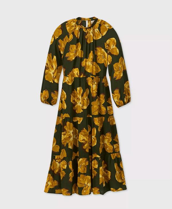A plus-size floral fall maxi dress.
