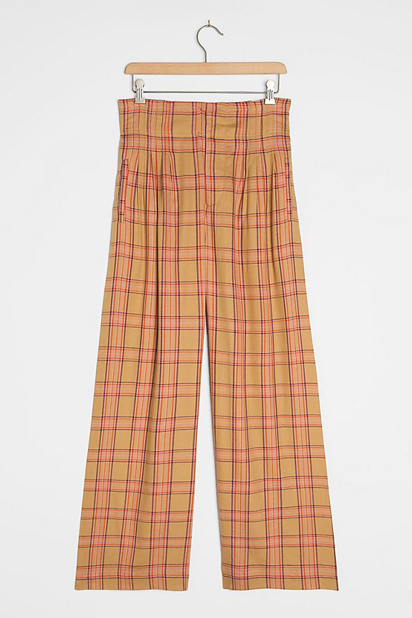 A pair of plus-size plaid pants.
