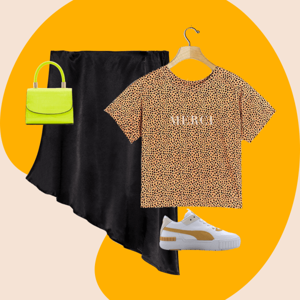 A collage with a black satin skirt, leopard print tee, neon bag, and sneakers.