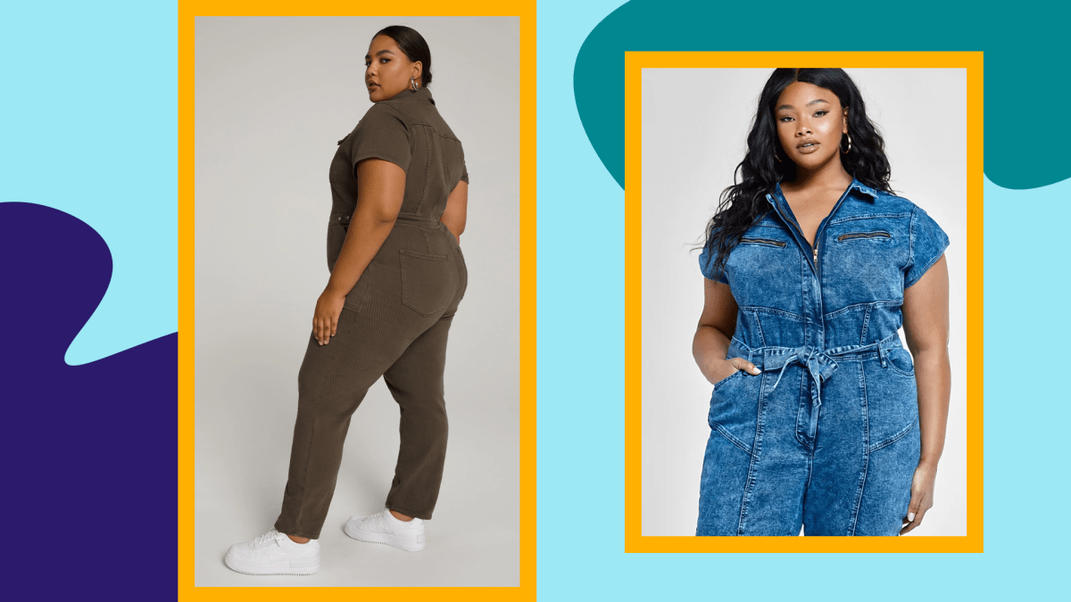 Two models wearing plus-size utility jumpsuits.