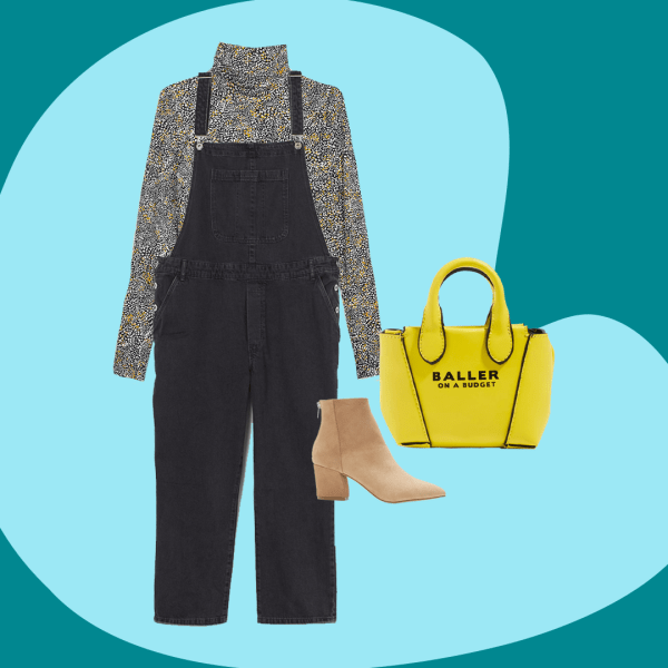 Washed black plus-size overalls, a turtleneck, neon tote bag, and brown booties.