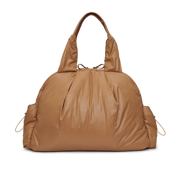 A light brown puffer tote.