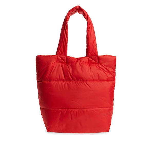 A red puffer tote.
