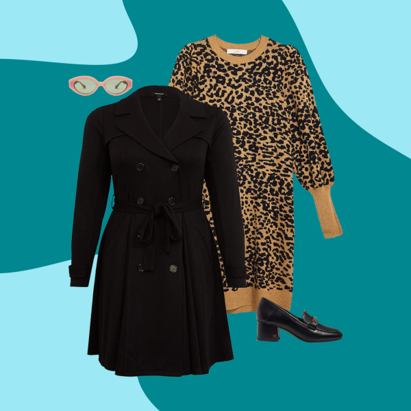 A collage with a black trench coat, leopard print sweater dress, black heels, and sunglasses.