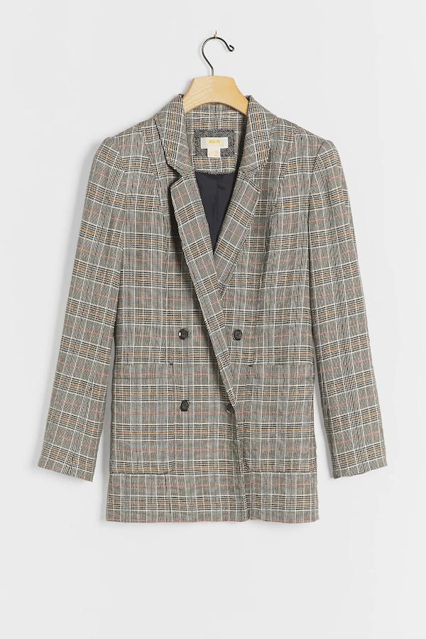 An oversized plaid blazer.