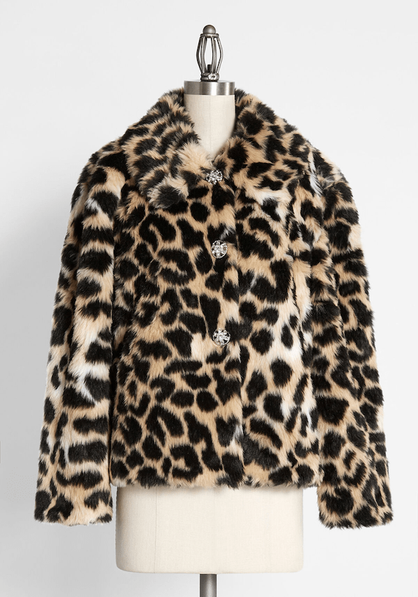 A faux fur leopard print coat from ModCloth.