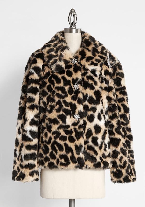 A faux fur leopard print coat from ModCloth.