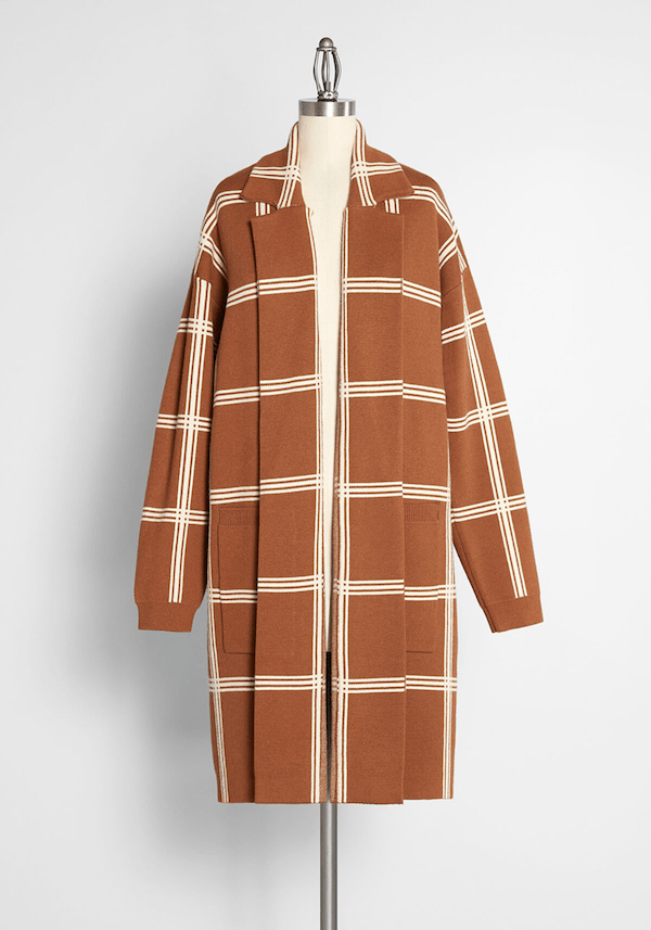 A brown and white striped coat from ModCloth.