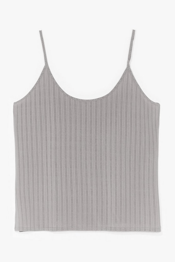 A gray ribbed camisole top.