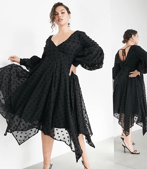 A plus-size model wearing a black holiday dress from ASOS.
