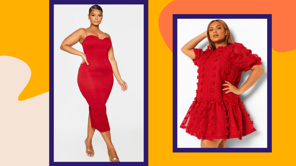 A plus-size model wearing a red dress from PrettyLittleThing and a plus-size model wearing a red dress from