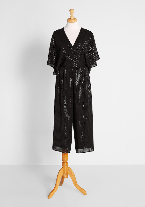 A black sequin jumpsuit from ModCloth.