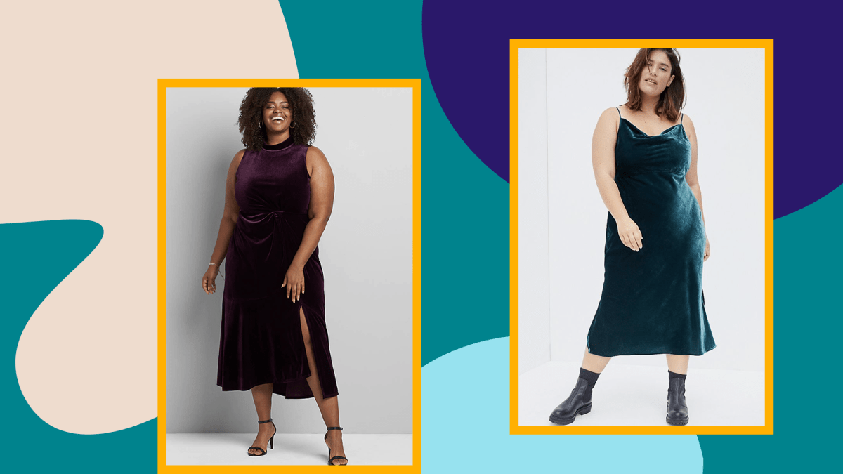Two plus-size models wearing velvet dresses—one purple and one dark teal.