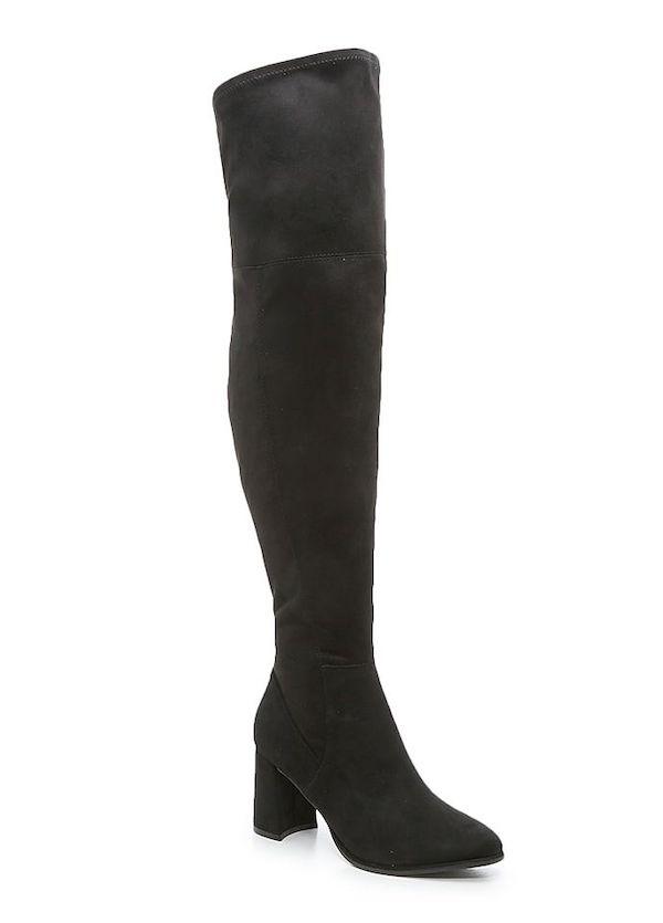 Black wide-calf thigh-high boots.