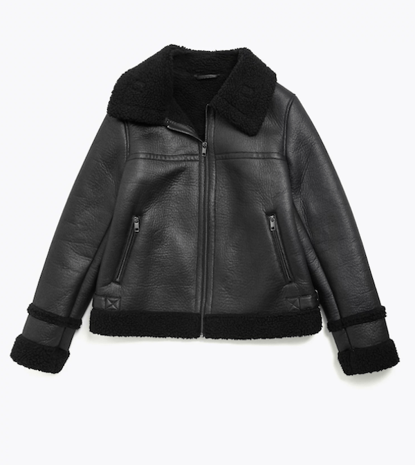 A plus-size aviator jacket in black.