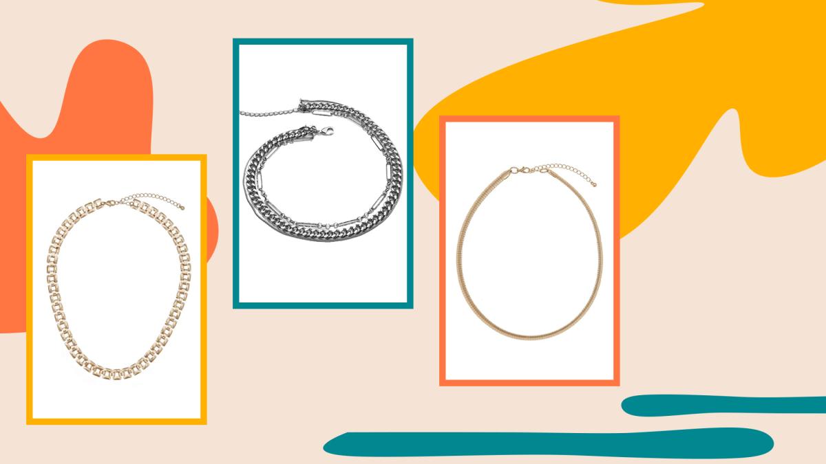 A gold chain choker necklace, silver choker necklace, and gold choker necklace.