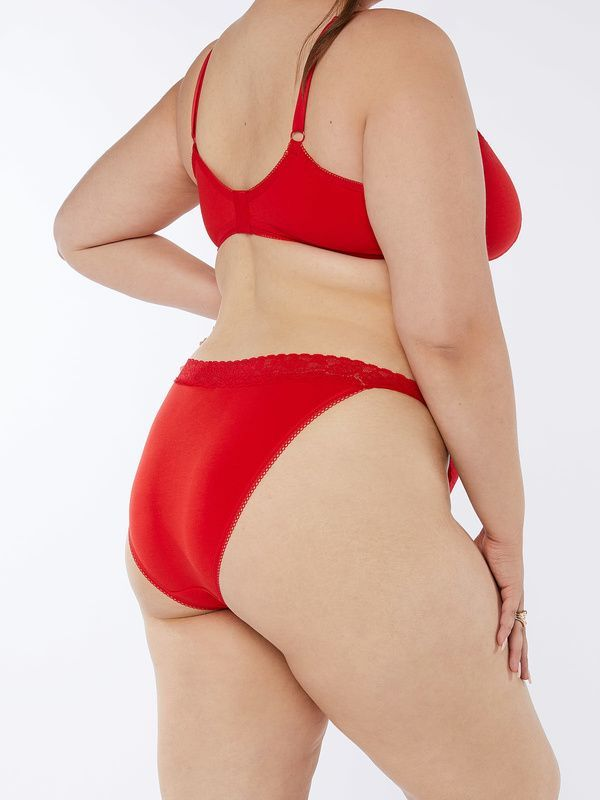 A model wearing plus-size red briefs.