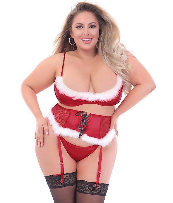 A model wearing plus-size Santa Claus Christmas lingerie.