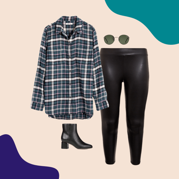 A teal plaid flannel shirt, faux leather leggings in black, round sunglasses, and black booties.