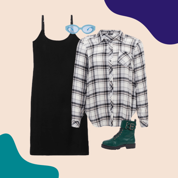 A black and white plaid shirt, black dress, green booties, and blue sunglasses.