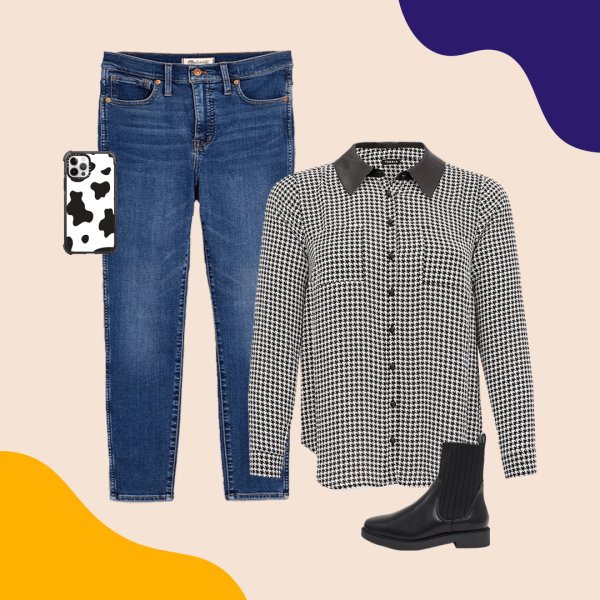 Mid-wash jeans, houndstooth blouse, cow print phone case, and black booties.