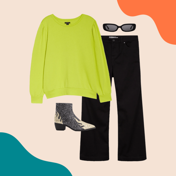 A neon green shirt, black jeans, glitter booties, and black sunglasses.