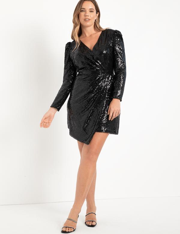 A model wearing a plus-size black sequin dress.