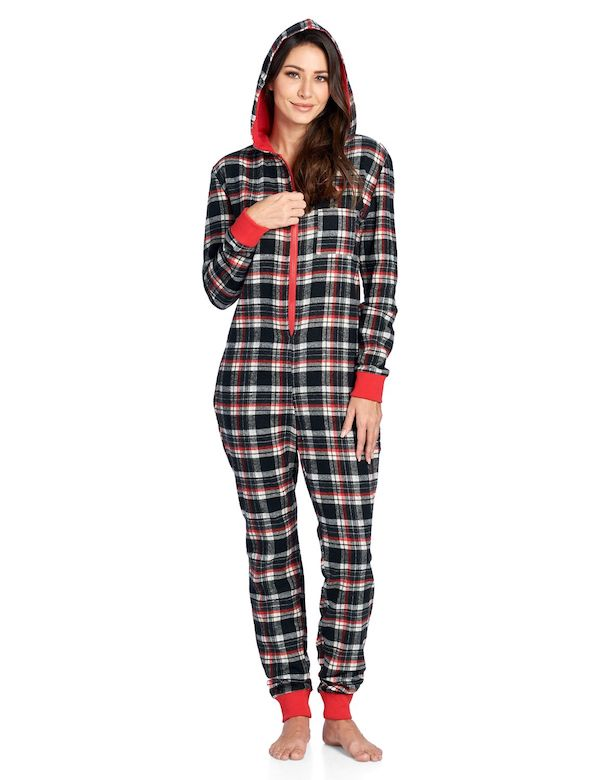 A model wearing a plus-size plaid onesie.
