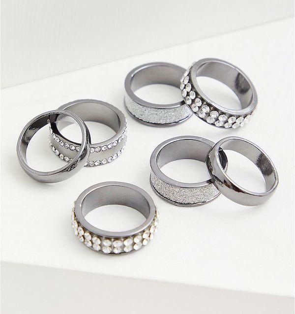 A plus-size silver ring set.