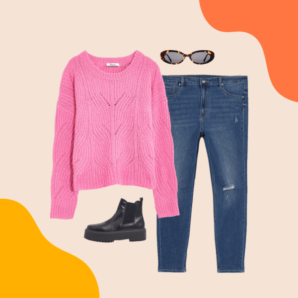 A pink sweater, ripped jeans, black booties, and tortoise sunglasses.
