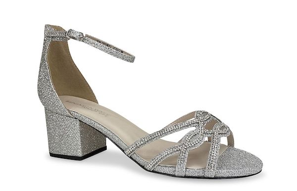 Sparkly silver wide-fit heels.