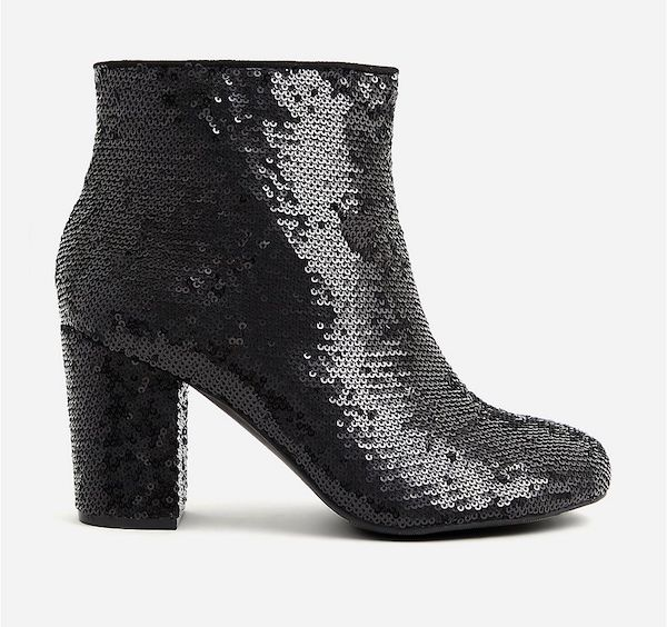 Sparkly black booties.