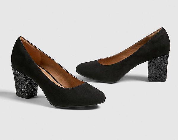 Sparkly black wide-fit heels.