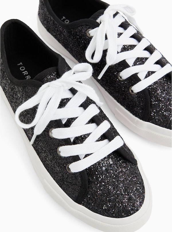 Sparkly black wide-fit sneakers.