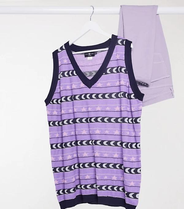 A plus-size sweater vest in purple.