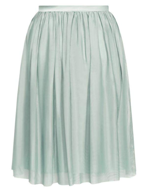 A light green tulle skirt.