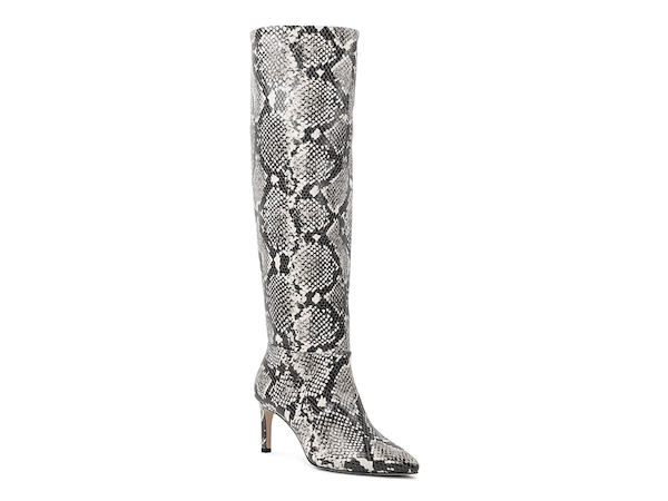 Wide-calf knee-high boots in gray snake print.