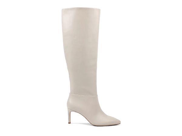 Wide-calf knee-high boots in white.
