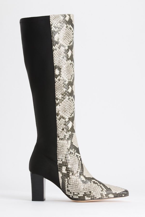 Wide-calf knee-high boots in black and snake print.