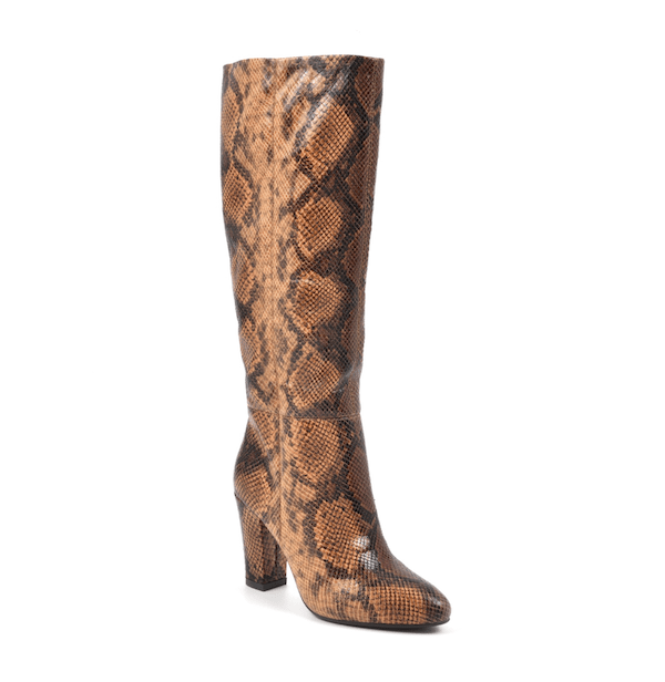 Wide-calf knee-high boots in brown snake print.