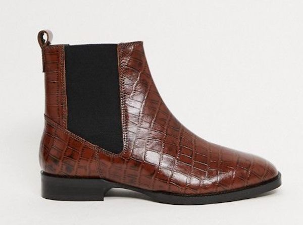 Wide-fit Chelsea boots in brown croc.