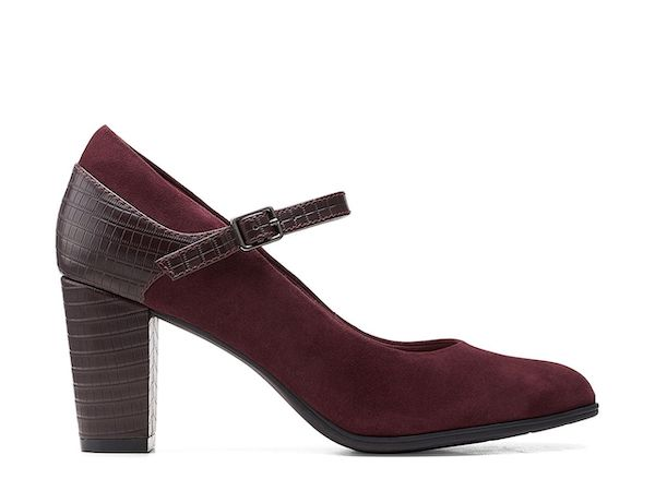 A pair of burgundy wide-fit heels.