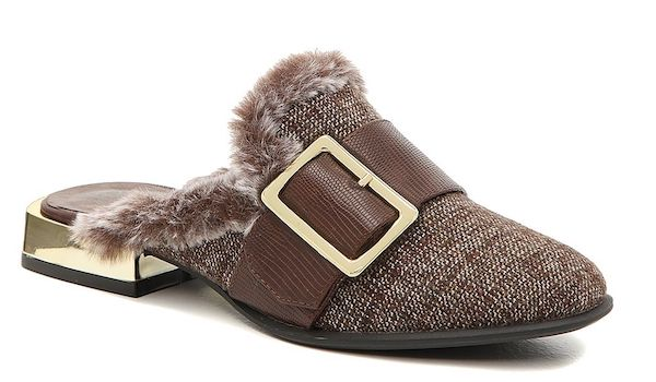 A pair of wide-fit mules in brown tweed.